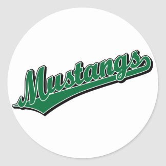 Mustangs in Green Classic Round Sticker