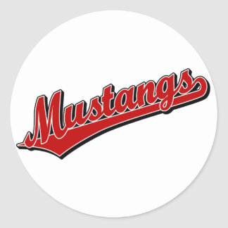 Mustangs in Red Round Sticker