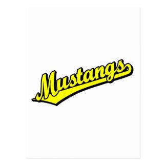 Mustangs in Yellow Postcard