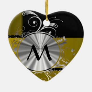 Mustard and black monogrammed christmas ornament