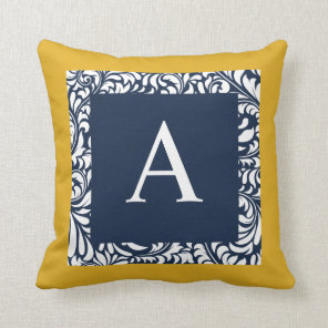 Mustard And Navy Monogram A Throw Pillow