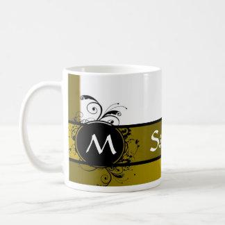 Mustard and white monogram design basic white mug