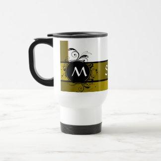 Mustard and white monogram design 15 oz stainless steel travel mug