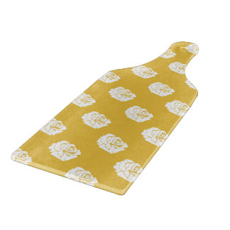 Mustard and White Rose Glass Cutting Board