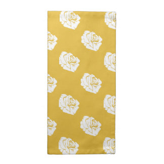 Mustard and White Rose Print Cloth Napkins