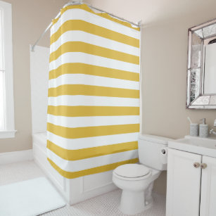 Mustard And White Striped Shower Curtain