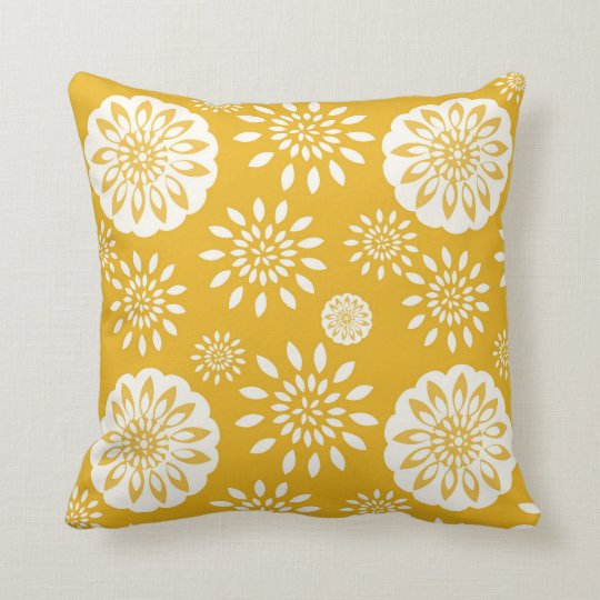 Mustard Blossom Special Yellow Floral Throw Pillow