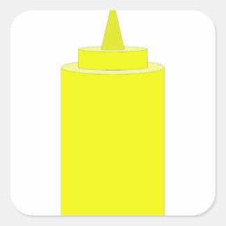 Mustard bottle square sticker