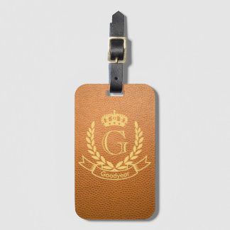 Mustard Brown Mock Leather with Monogram Crest Luggage Tag