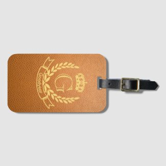 Mustard Brown Mock Leather with Monogram Crest