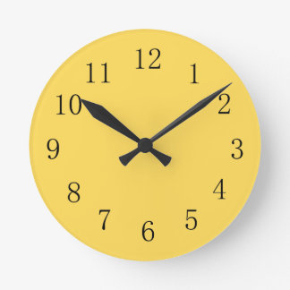 Mustard Color Yellow Kitchen Wall Clock