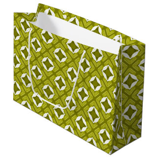 Mustard Green And White Geometric Pattern Large Gift Bag