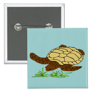 Mustard honu sea turtle button