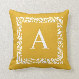 Mustard Monogram A Throw Pillow