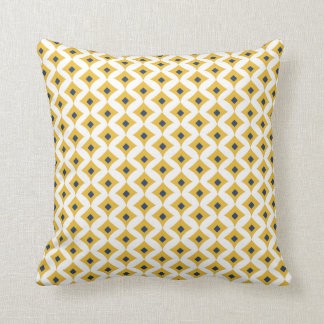 Mustard, Navy & White Geometric Throw Pillow 16x16