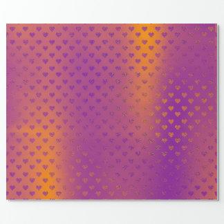 Mustard Purple Gold Hearts Metallic Confetti Wrapping Paper