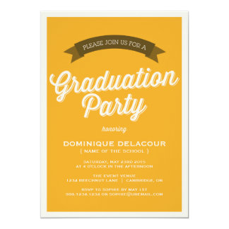 MUSTARD RETRO SCRIPT | GRADUATION PARTY INVITATION