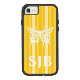 Mustard Victorian Stripe with Butterfly Case-Mate Tough Extreme iPhone 8/7 Case