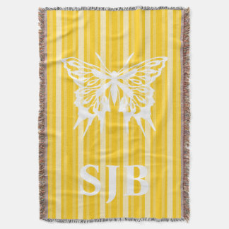 Mustard Victorian Stripe with Butterfly Throw Blanket