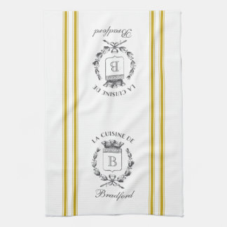 Mustard Vintage Style French Sack with Custom Name Tea Towel