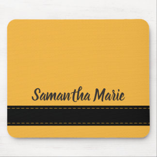 Mustard Yellow and Black Personalised Mousepad