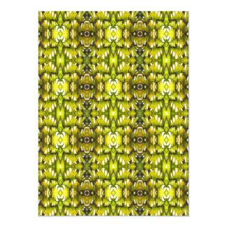 Mustard Yellow And Green Retro Wallpaper Pattern 14 Cm X 19 Cm Invitation Card