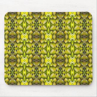 Mustard Yellow And Green Retro Wallpaper Pattern Mousepad