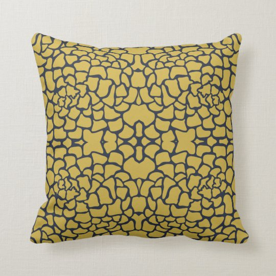 Mustard Yellow and Navy Blue Floral Pattern Cushion