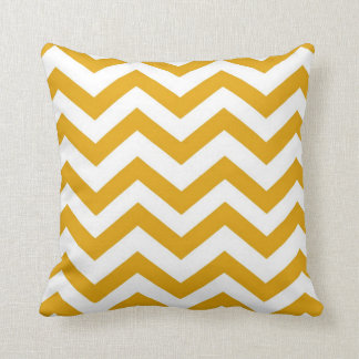 Mustard Yellow and White Chevron Cushion