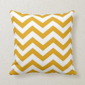 Mustard Yellow and White Chevron Throw Pillow