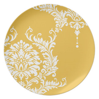 Mustard Yellow and White Damask or Any Color Dinner Plates