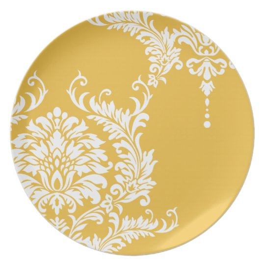 Mustard Yellow and White Damask or Any Colour Plate