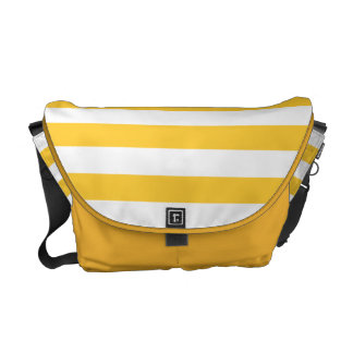 Mustard Yellow and White Stripe Pattern Courier Bags