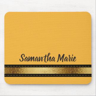 Mustard Yellow Black Gold Personalised Mousepad