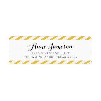 Mustard Yellow Carnival Stripes Address Labels