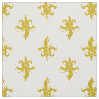 Mustard Yellow Fleur De Lis Pattern Fabric