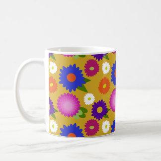 Mustard Yellow Flowers Floral Pattern Feminine Coffee Mug