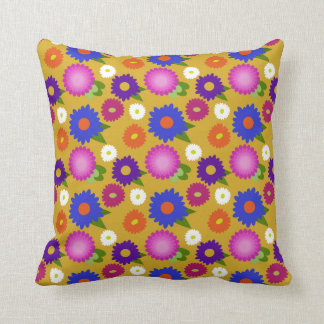 Mustard Yellow Flowers Floral Pattern Feminine Cushion