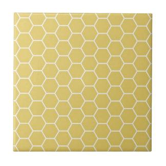 Mustard Yellow Geometric Honeycomb Hexagon Pattern Small Square Tile