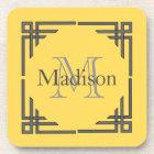Mustard Yellow Grey Geometric Border Monogram Name Coaster