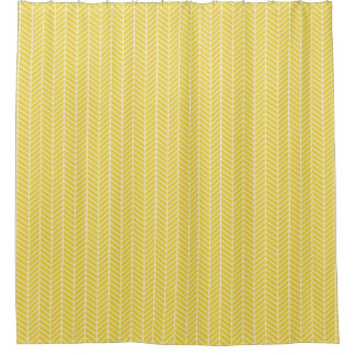 Mustard Yellow Herringbone shower curtain