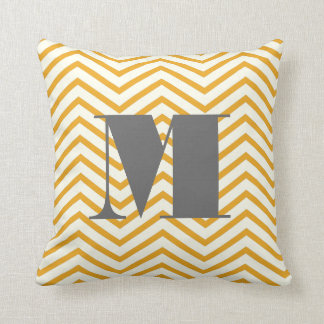 Mustard Yellow Ivory and Gray Monogram Zig Zag Cushion