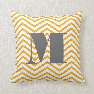 Mustard Yellow Ivory and Gray Monogram Zig Zag Throw Pillow