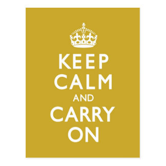 Mustard Yellow Keep Calm and Carry On Postcard