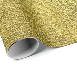 Mustard Yellow Lemon Intense Paint Linen Metallic Wrapping Paper