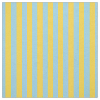 Mustard Yellow Light Blue Stripe Fabric