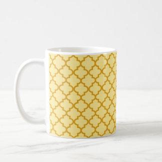 Mustard yellow Moroccan tile geometric chic coffee Basic White Mug