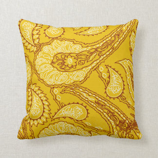 Mustard Yellow Paisley Print Summer Fun Girly Cushion