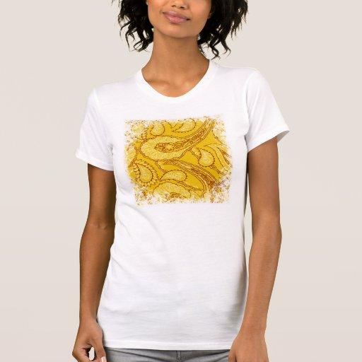 Mustard Yellow Paisley Print Summer Fun Girly T Shirts
