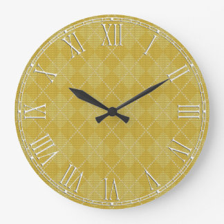 Mustard Yellow Retro Preppy Argyle Large Clock
